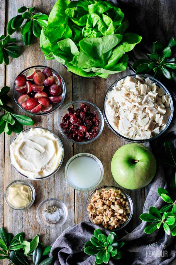 ingredients for Waldorf Salad with turkey