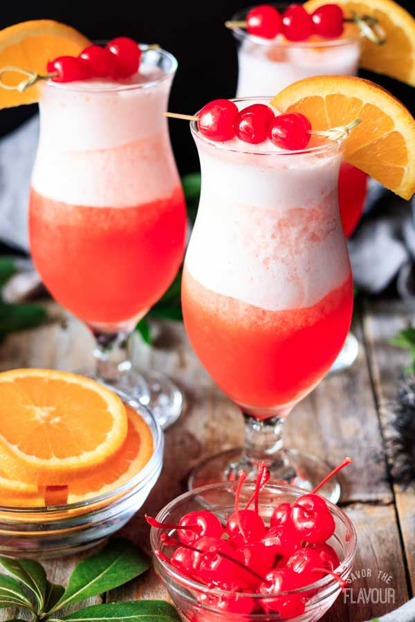 glasses of frozen hurricane mocktail