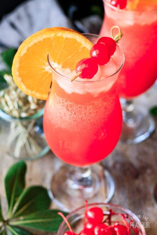 closeup of a hurricane mocktail