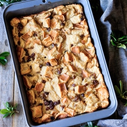 baked bread pudding in the pan