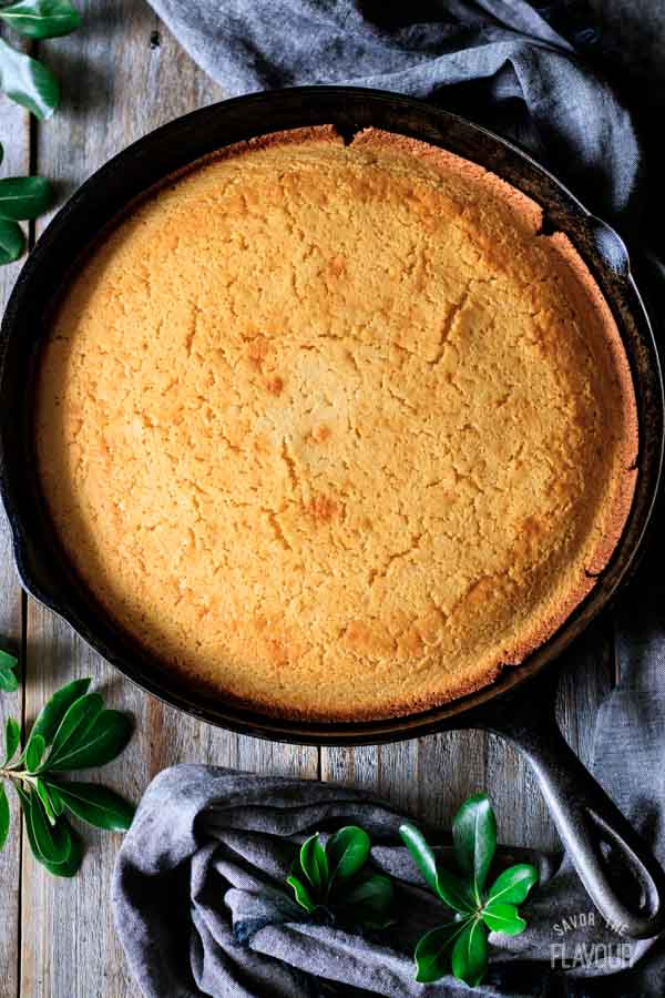 freshly baked cornbread in a cast iron skillet
