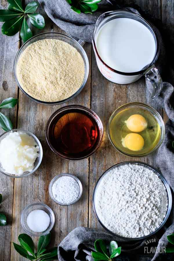 bowls of ingredients for skillet cornbread