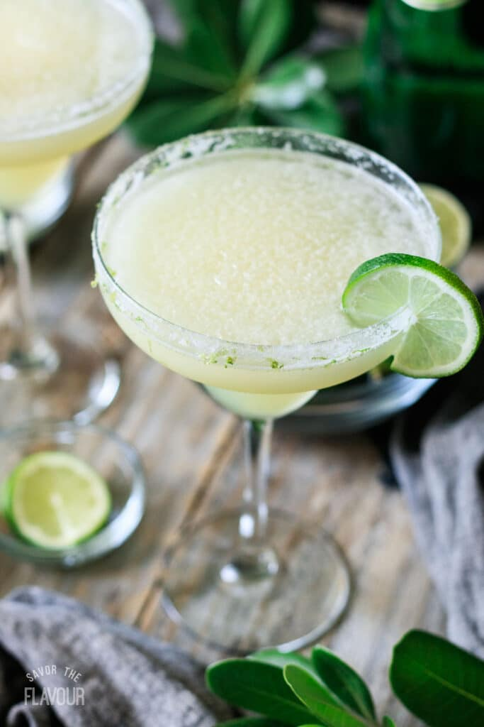 top view of a glass of virgin lime margarita