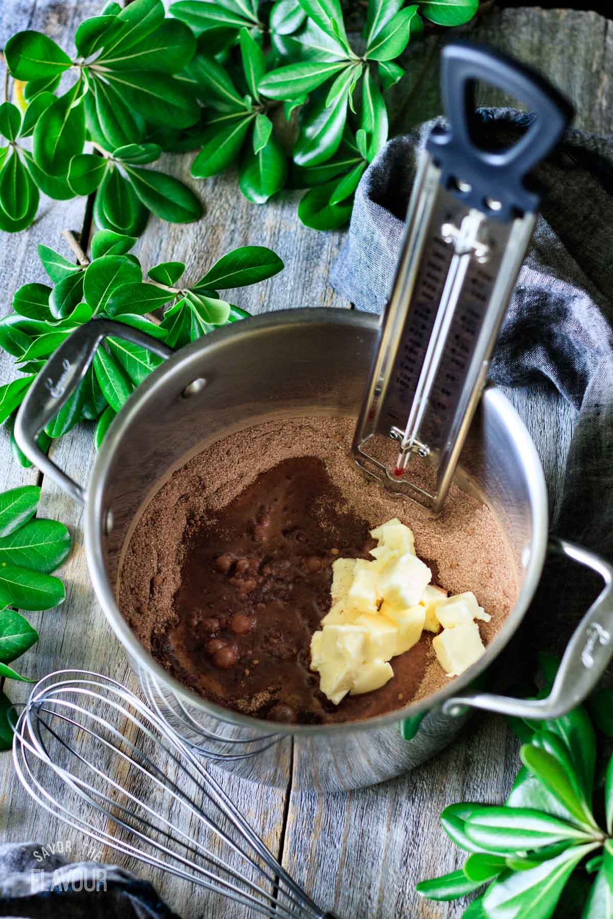 butter, milk, sugar, and cocoa powder mixture in a saucepan