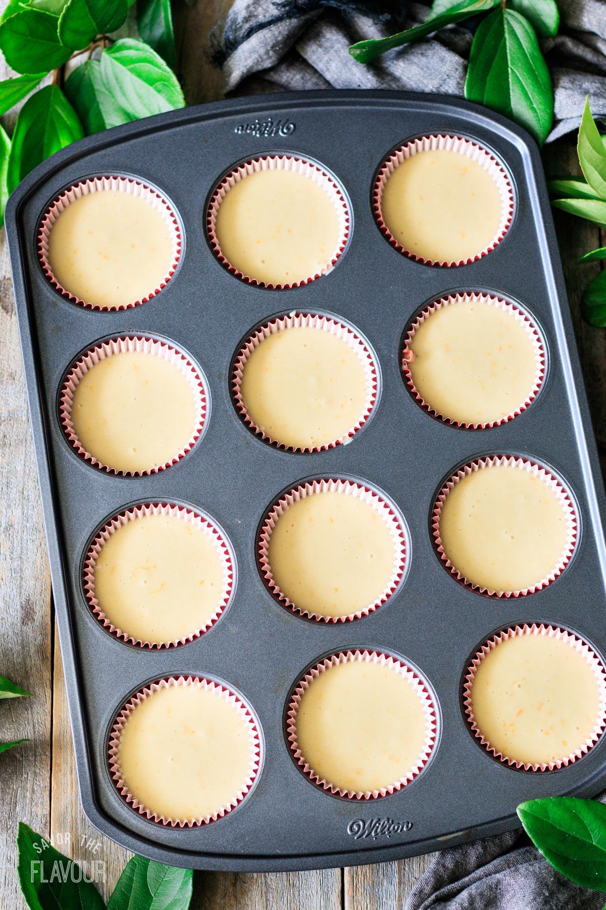 mantecada batter in cupcake liners