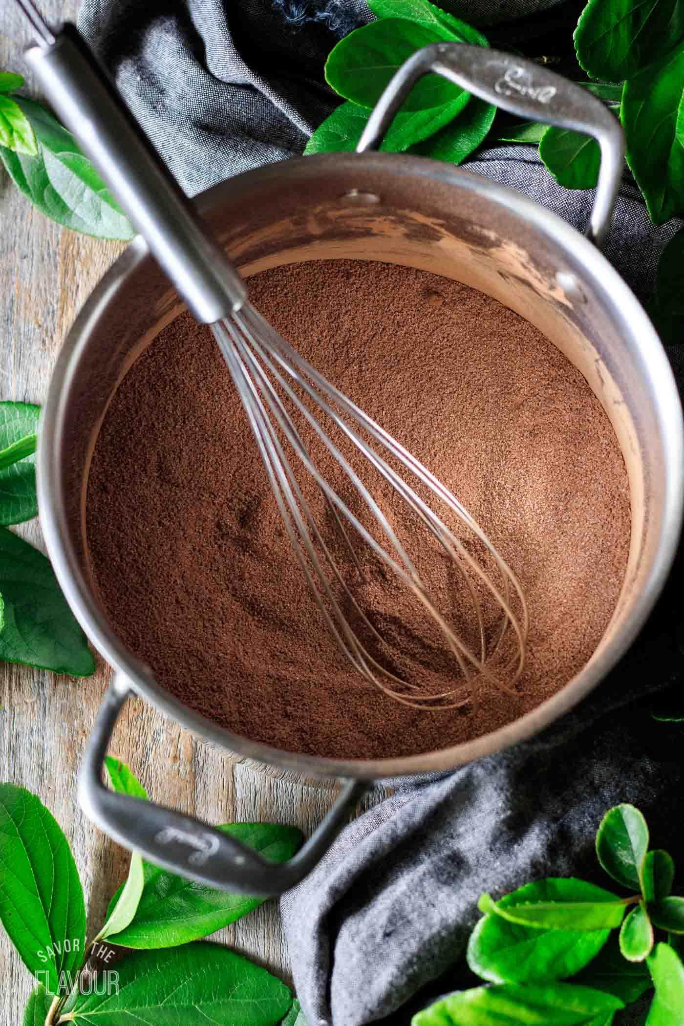 whisked cocoa powder and sugar mixture