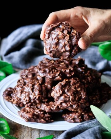 person holding a no bake cookie