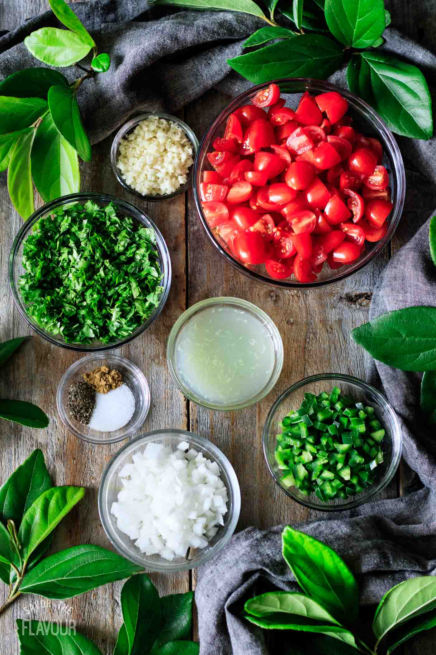 bowls of ingredients for pico de gallo