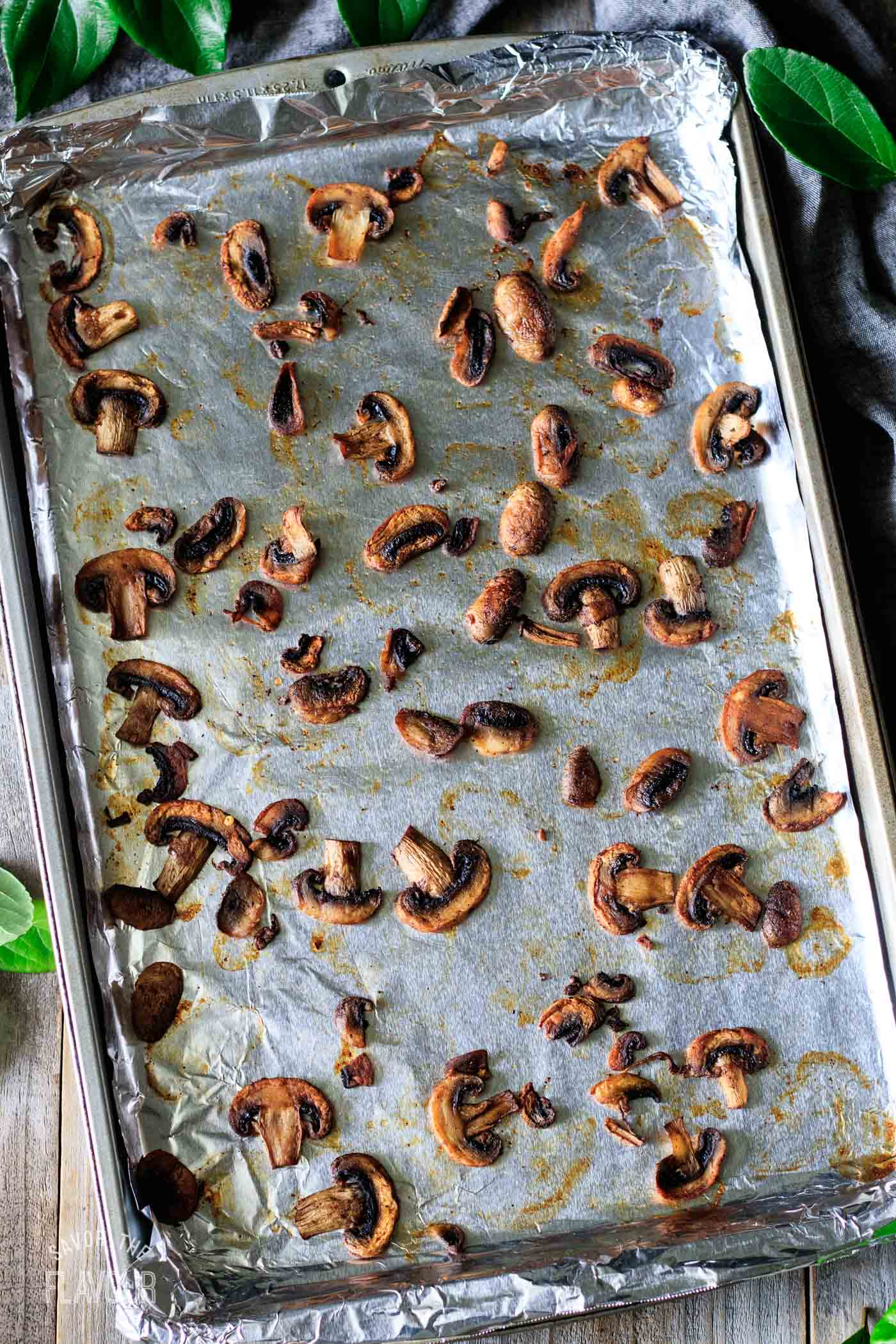 roasted mushrooms on a tray