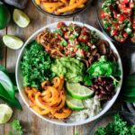 vegan burrito bowl with toppings