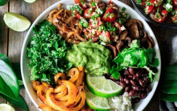 vegan burrito bowl with toppings