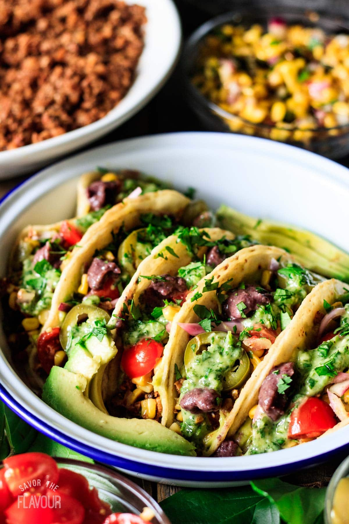 tacos in a white bowl