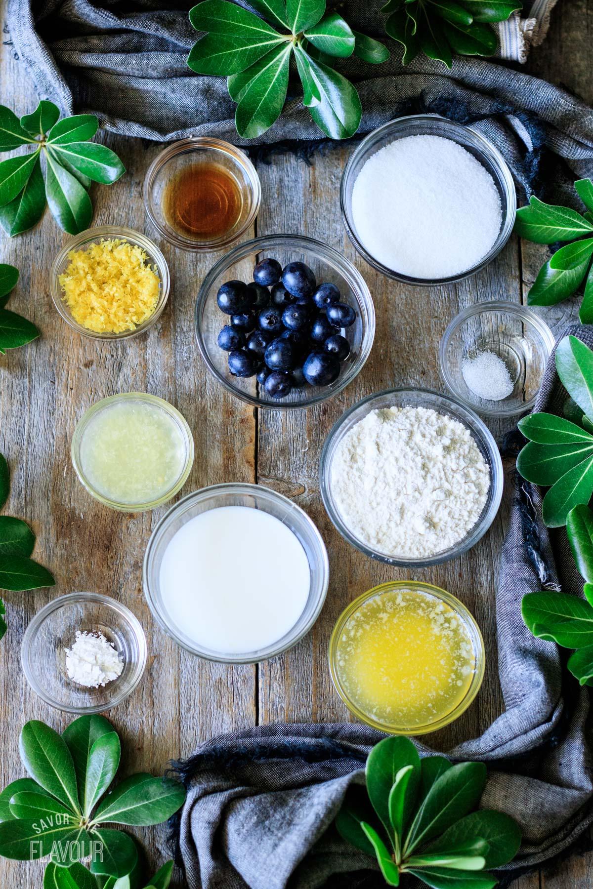 ingredients for a lemon blueberry mug cake