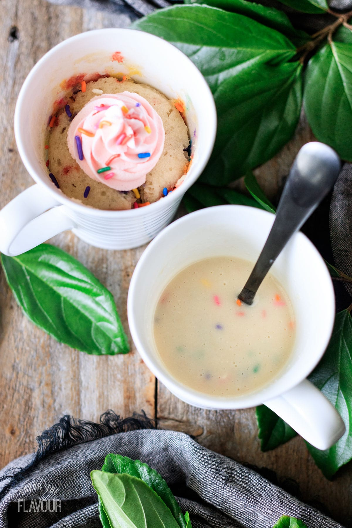 funfetti mug cake batter with sprinkles added