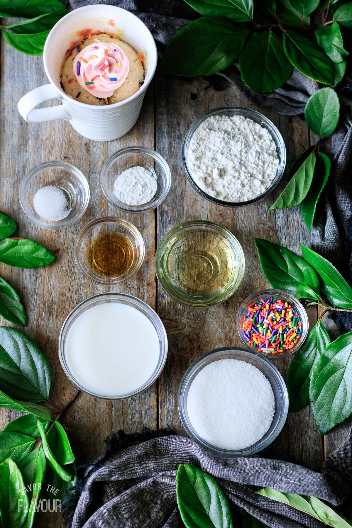 bowls of ingredients for funfetti mug cake