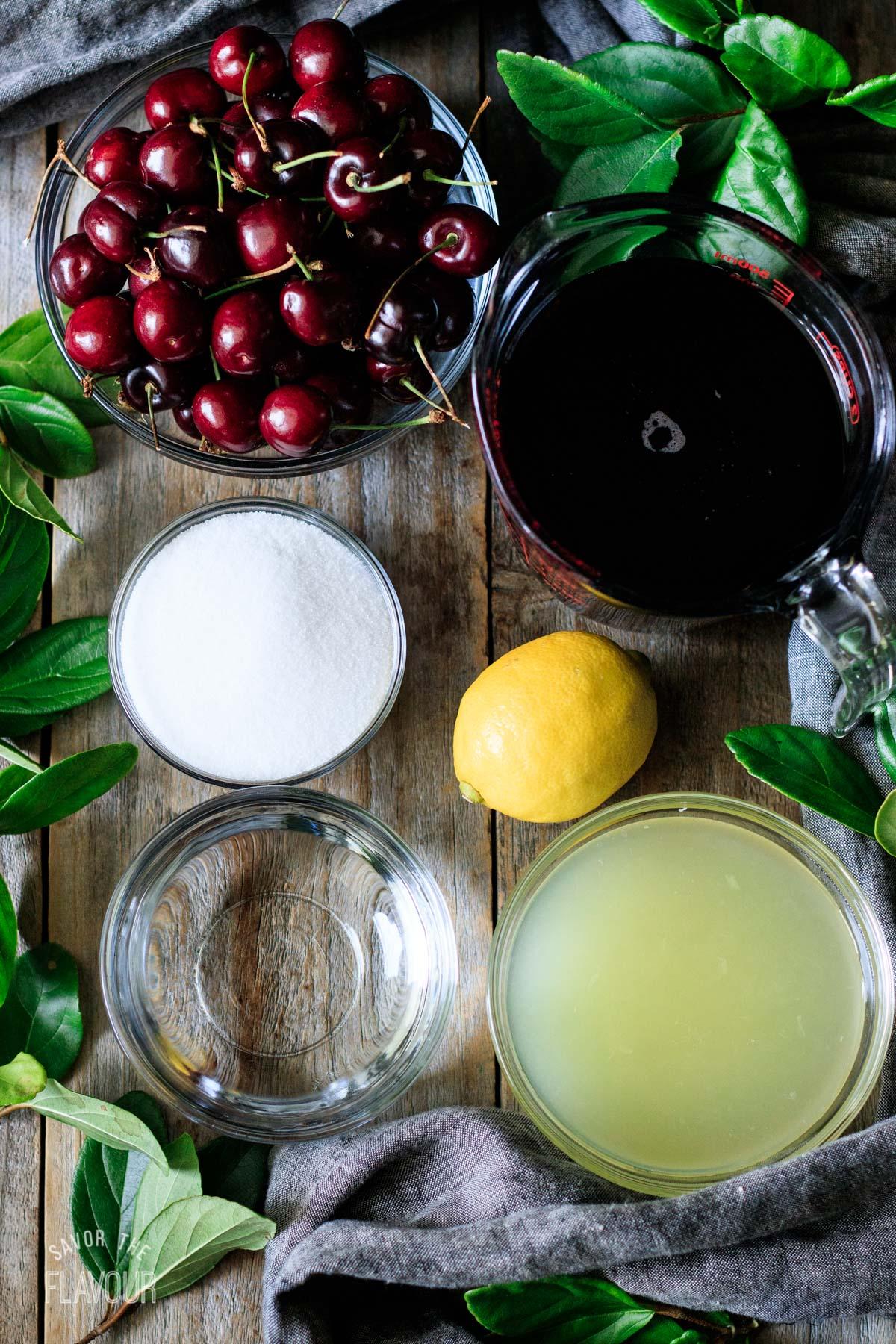 bowls of fresh cherries, juice, water, and sugar