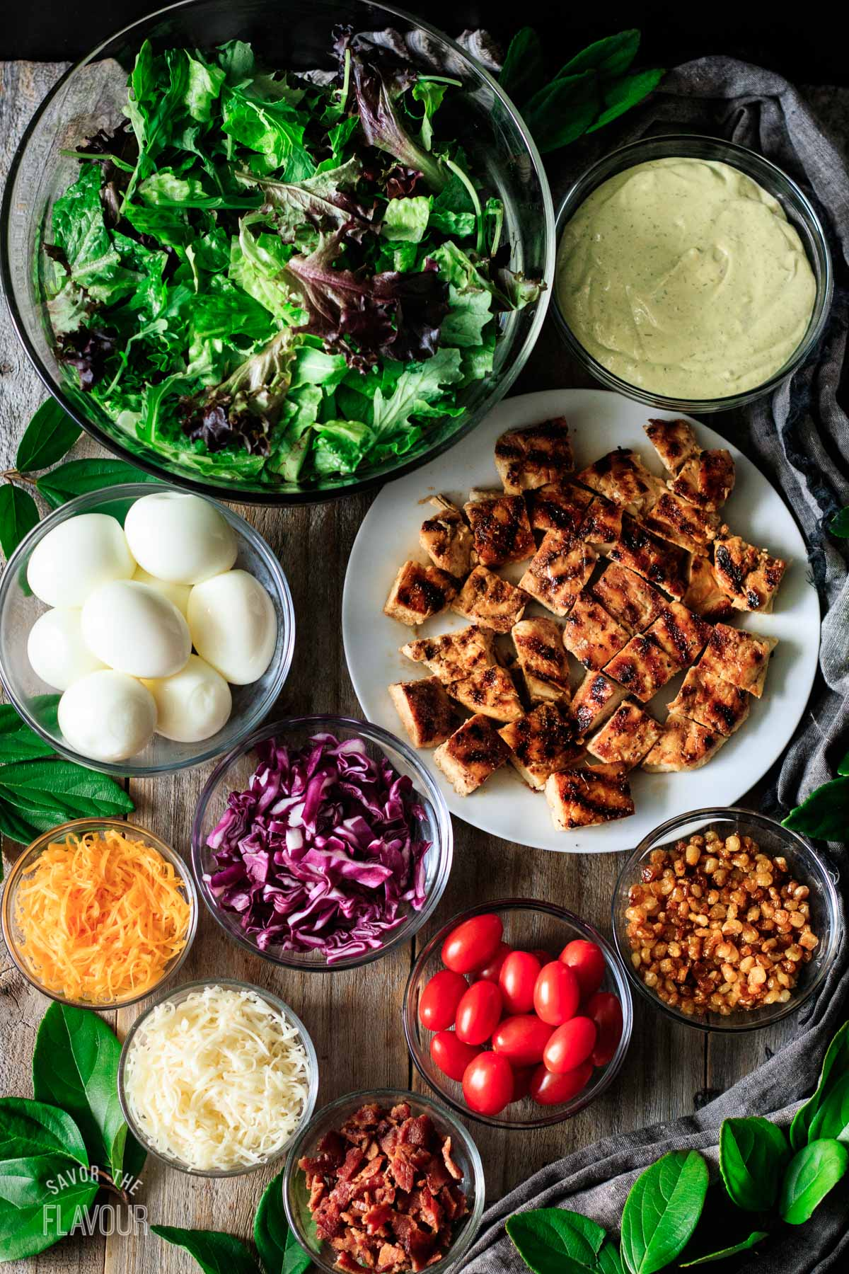 bowls of ingredients for copycat Chick-fil-A Cobb salad