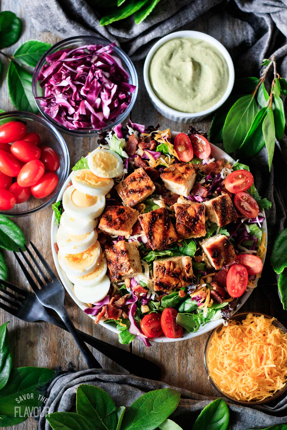 Chick-fil-A Cobb salad with other toppings in bowls