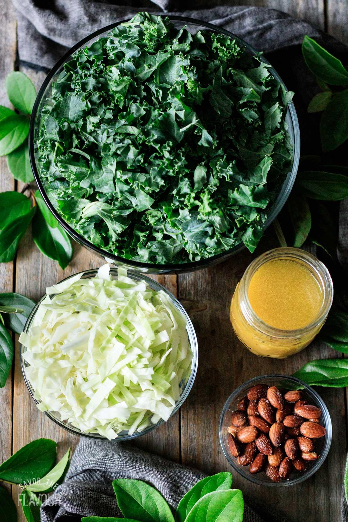 bowls of ingredients for kale crunch salad