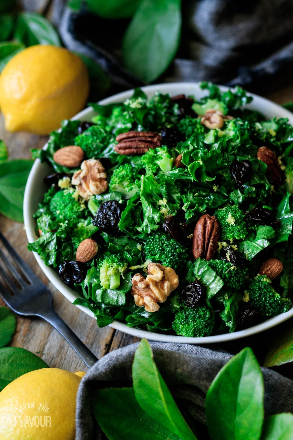 bowl of superfood salad with a fork