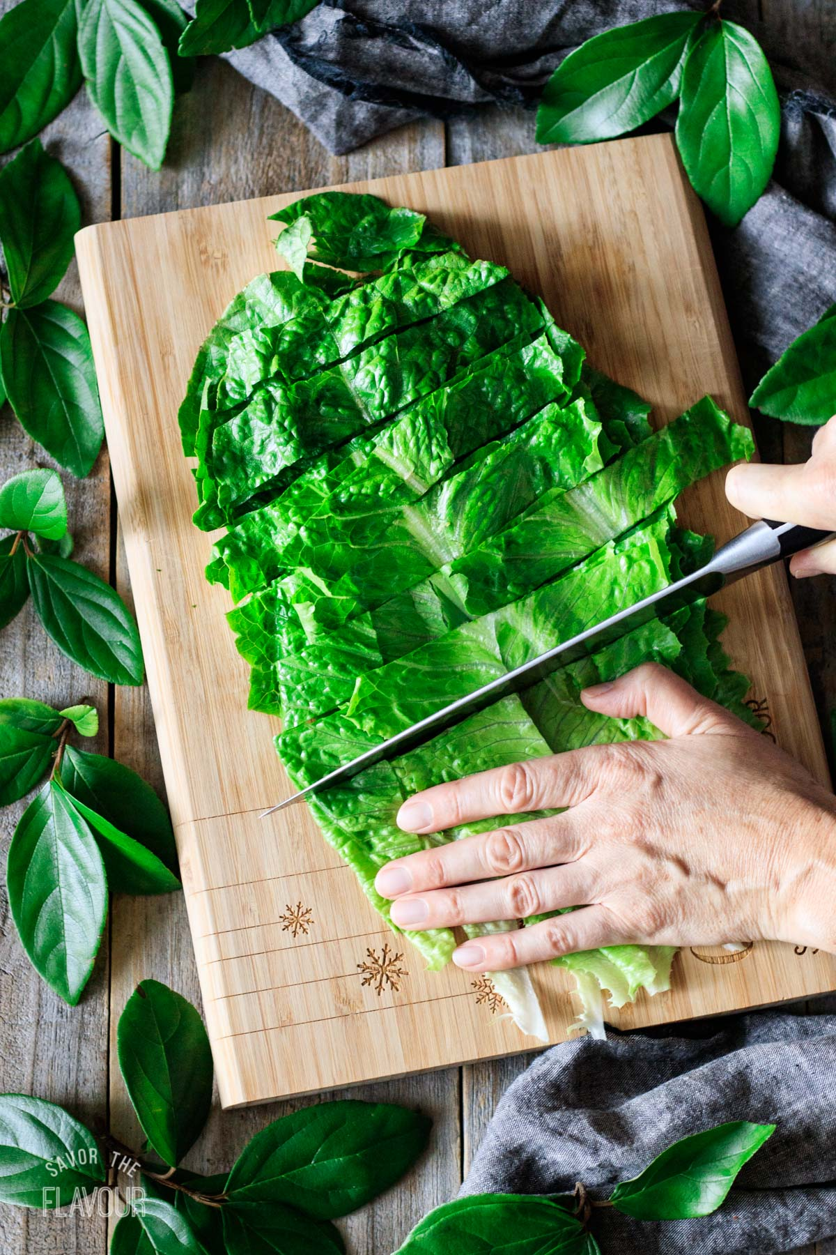 chopping Romaine lettuce into smaller pieces