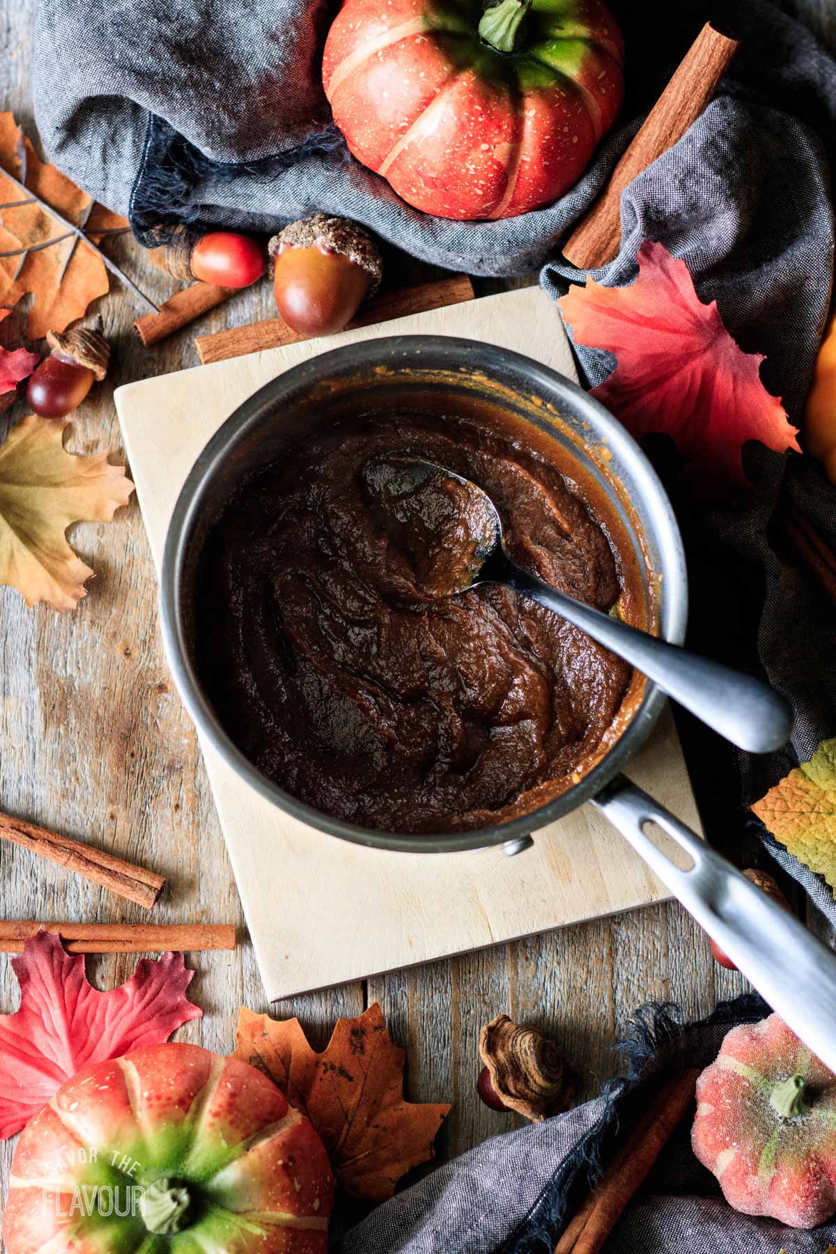 cooked pumpkin mixture in a small saucepan