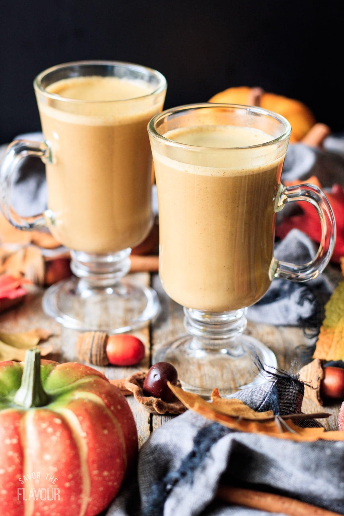 two glasses of pumpkin spice latte
