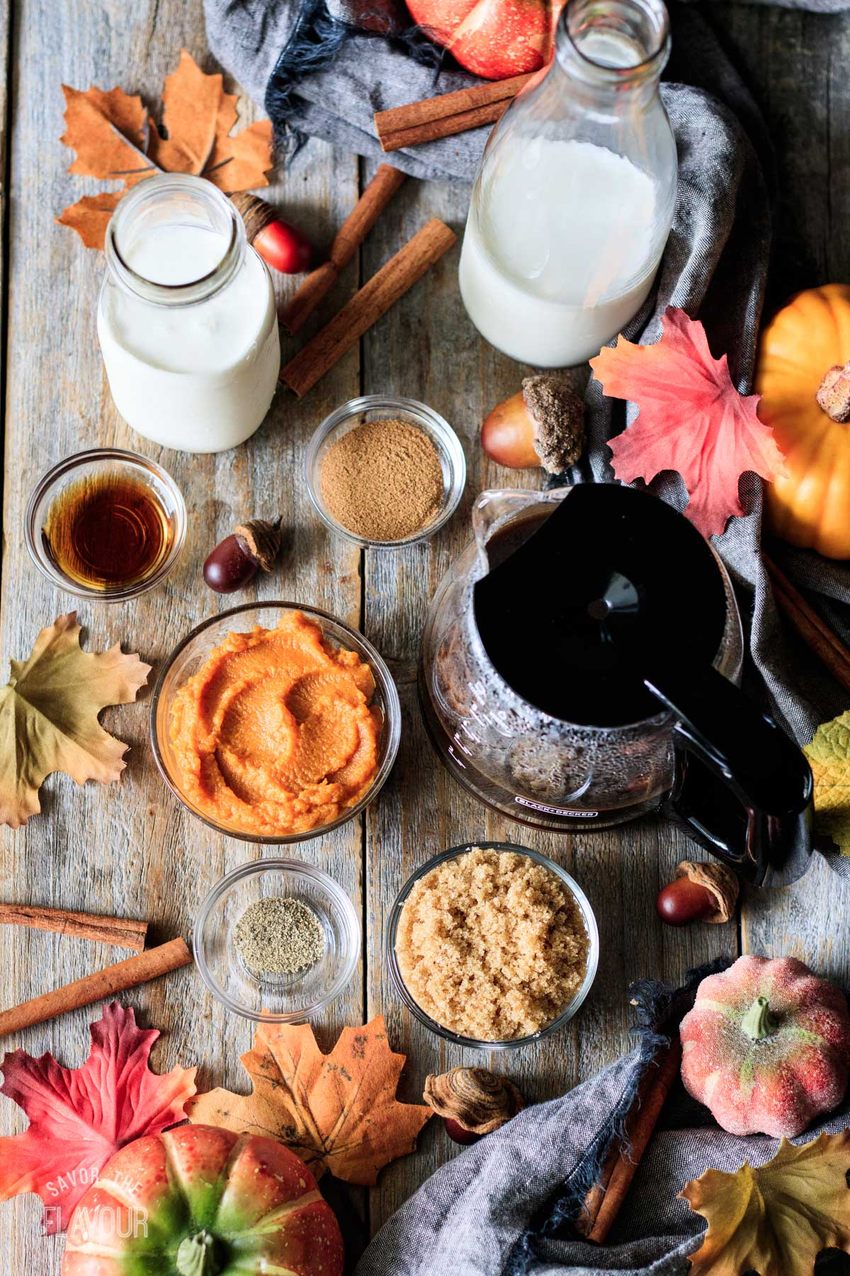 bowls of ingredients for pumpkin spice latte
