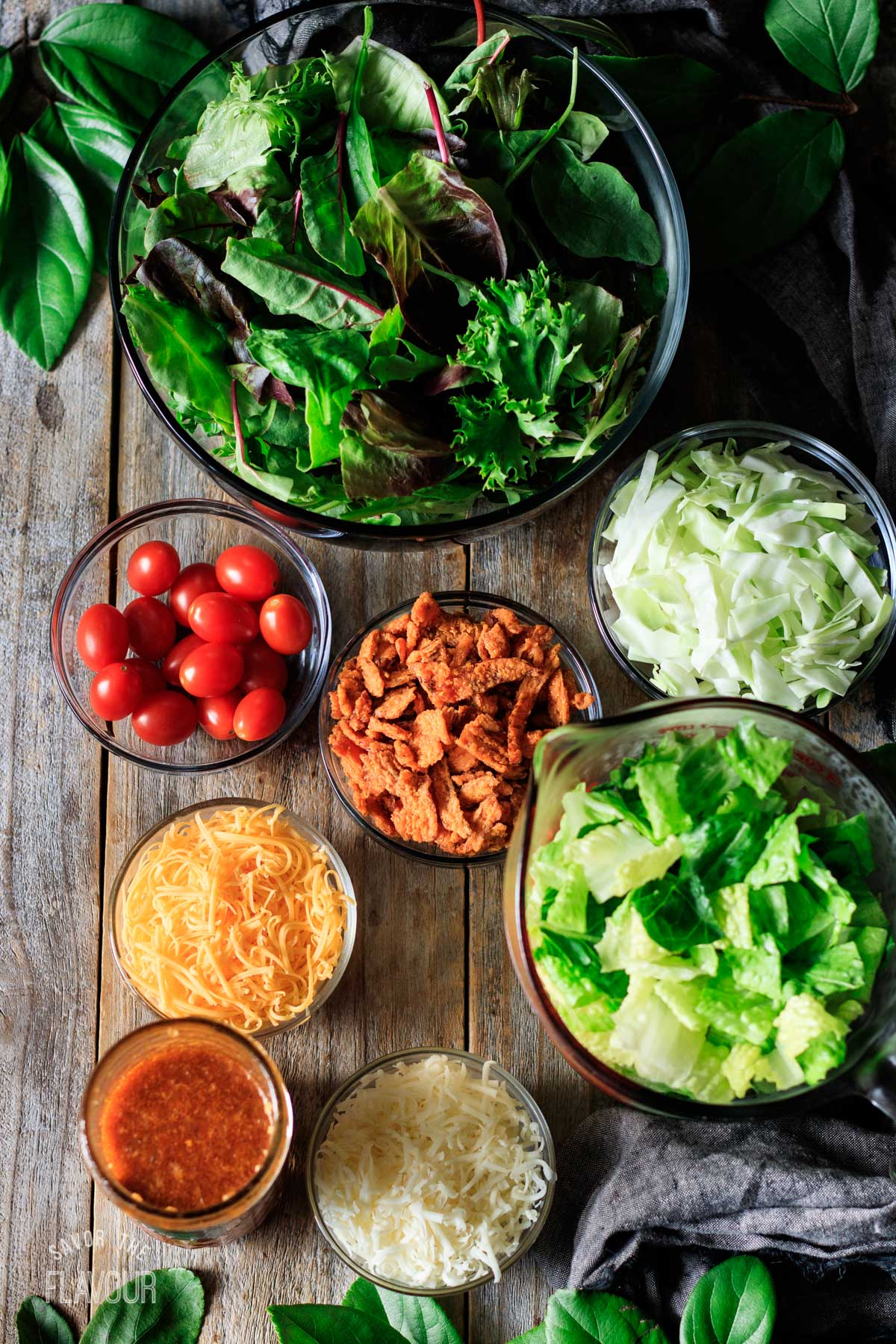 bowls of ingredients for Chick-fil-A side salad