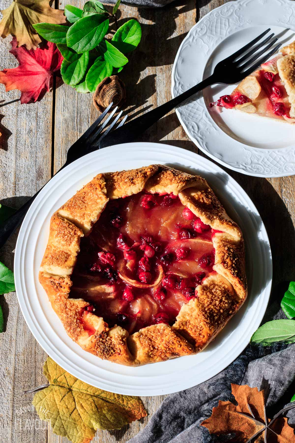 cranberry apple galette on a white plate