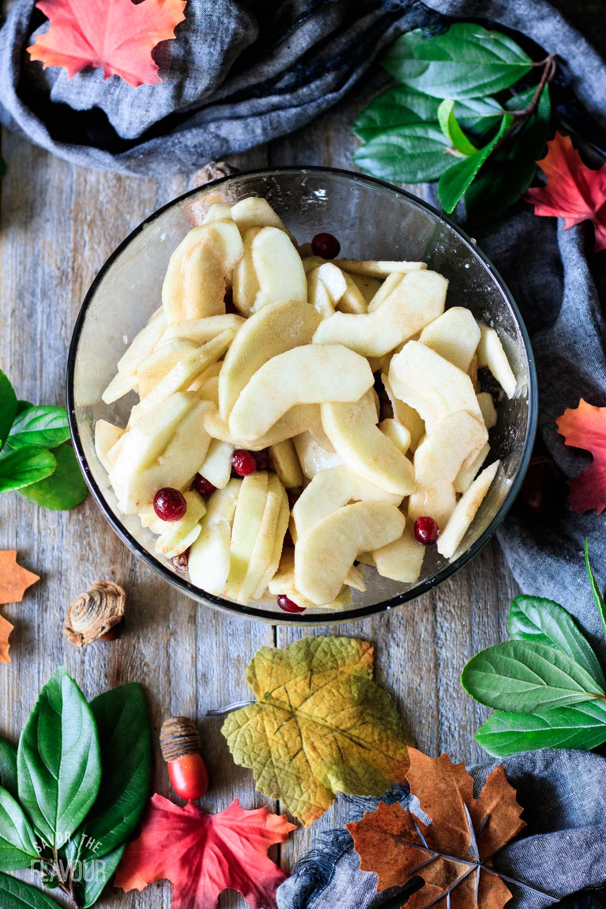 bowl of apple slices mixed with cranberries and cinnamon