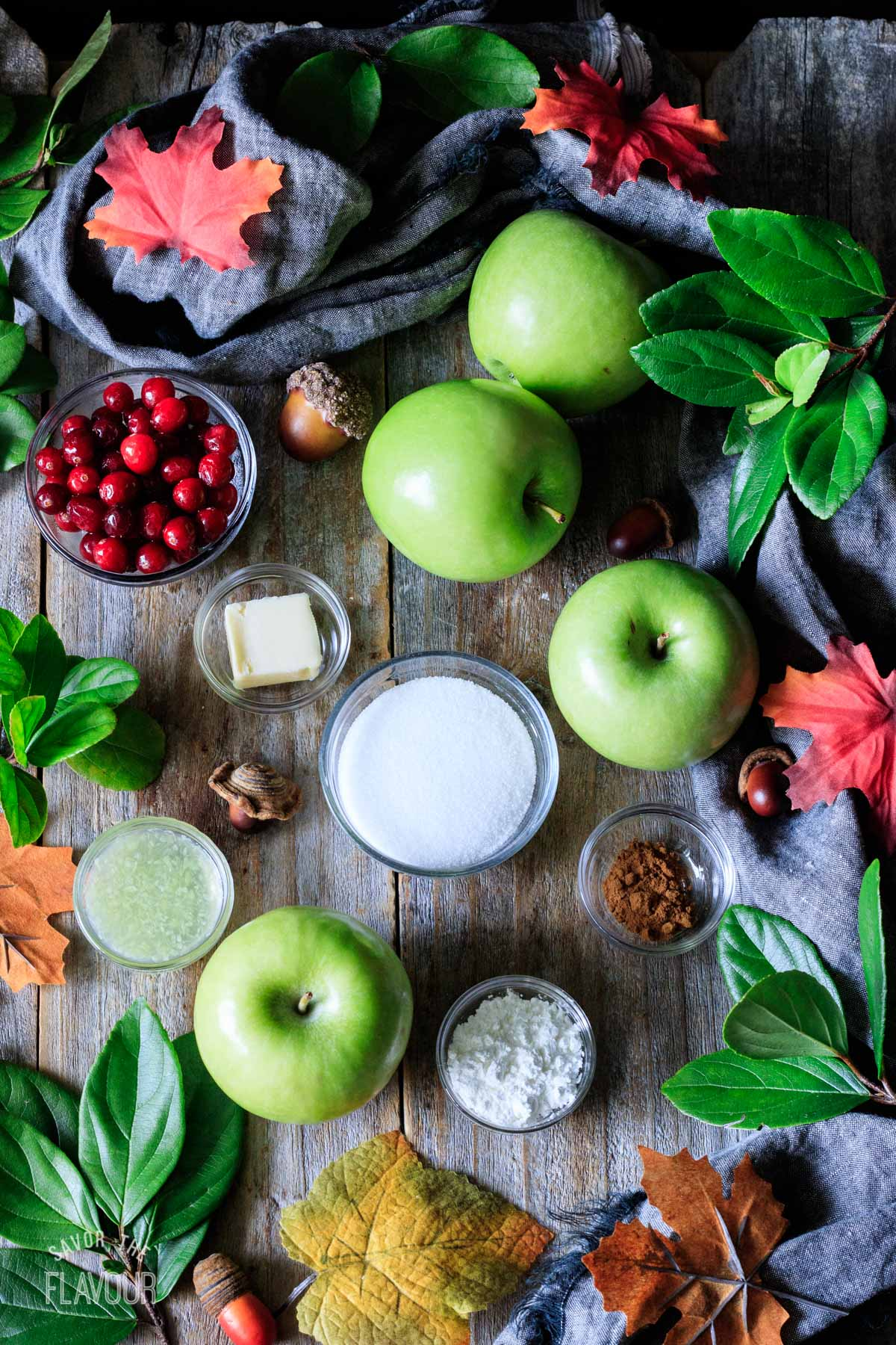 apples and bowls of ingredients