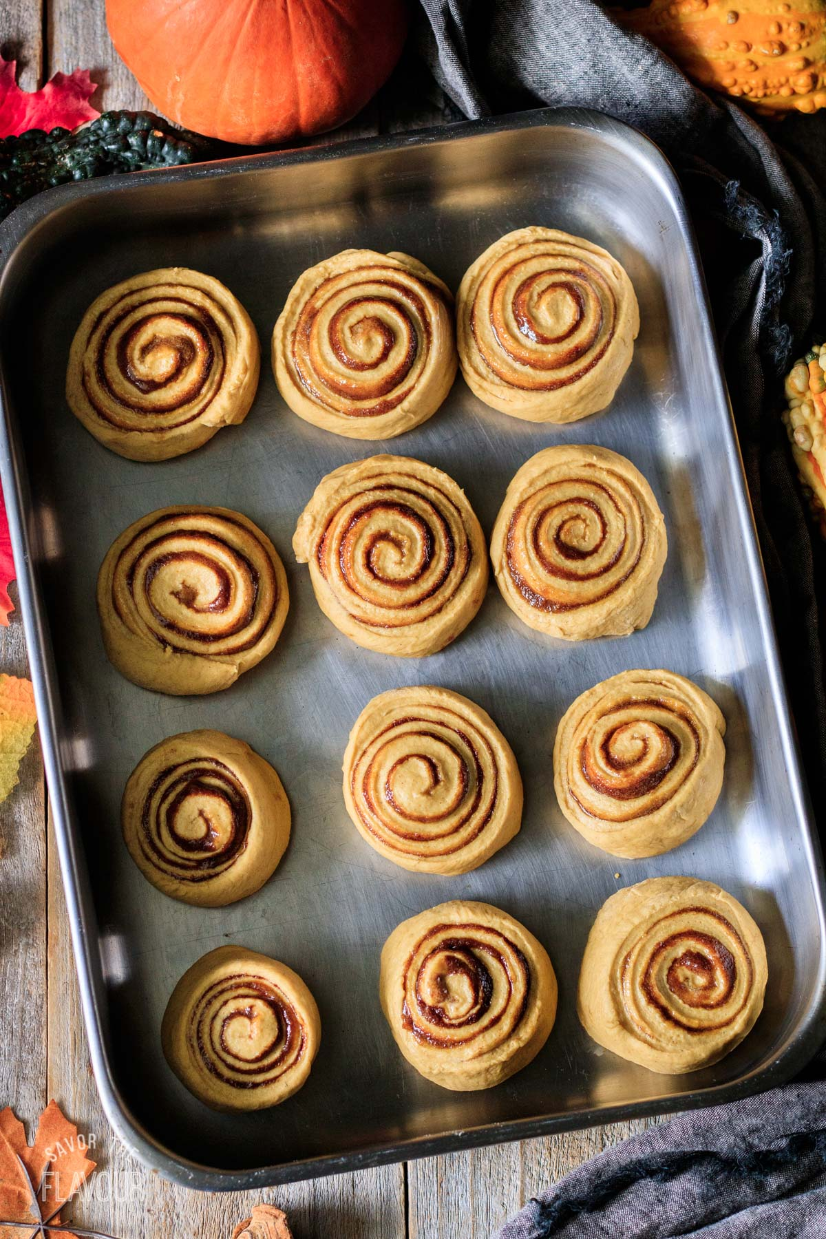vegan pumpkin cinnamon rolls in a pan before rising