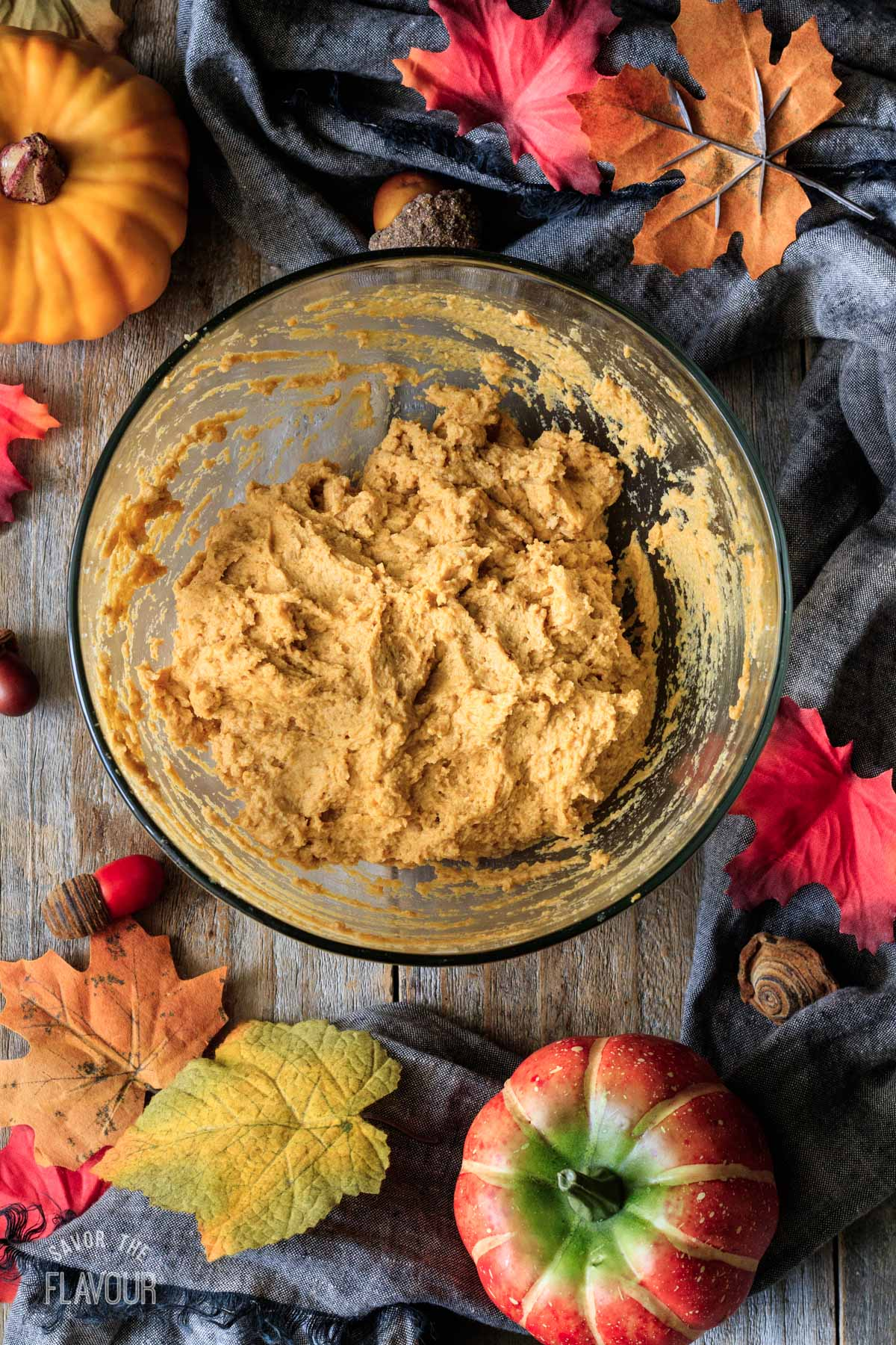 pumpkin scone dough in a bowl