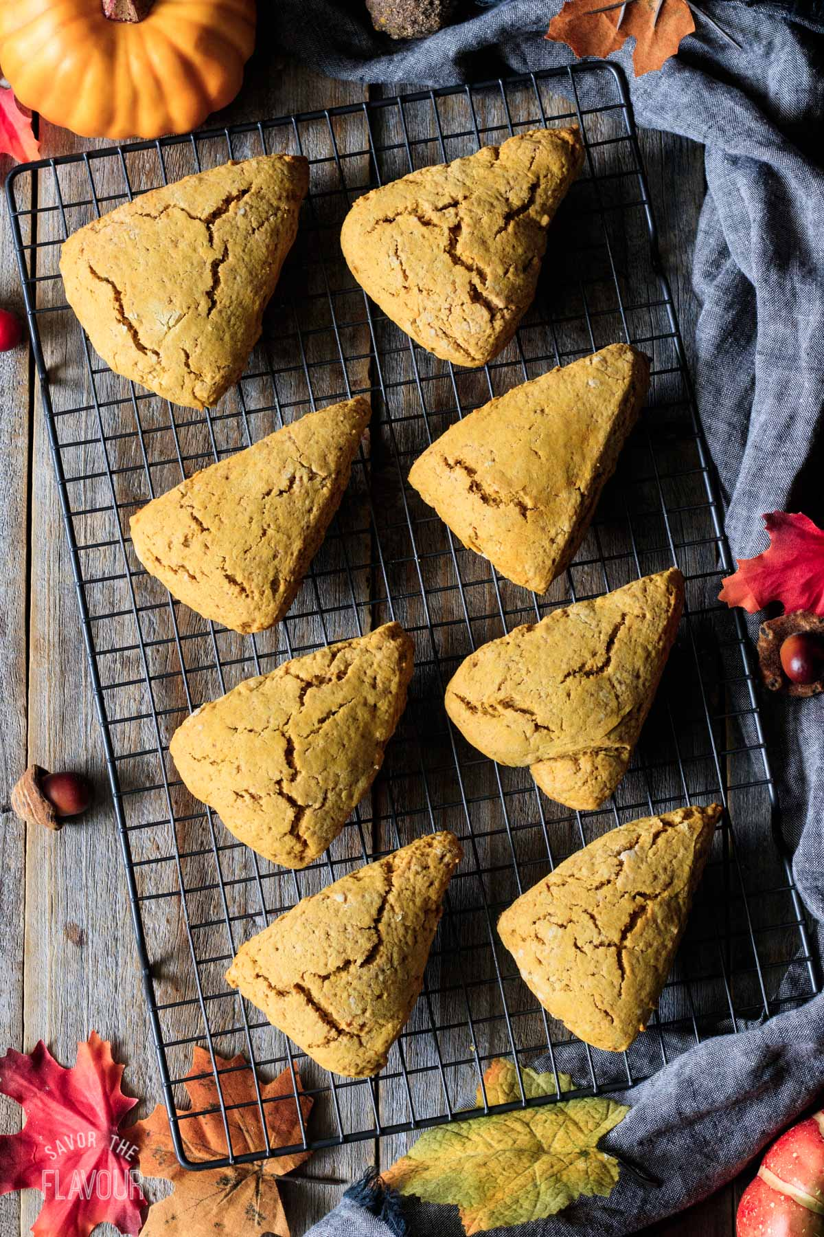 baked pumpkin scones on a wire cooling rack