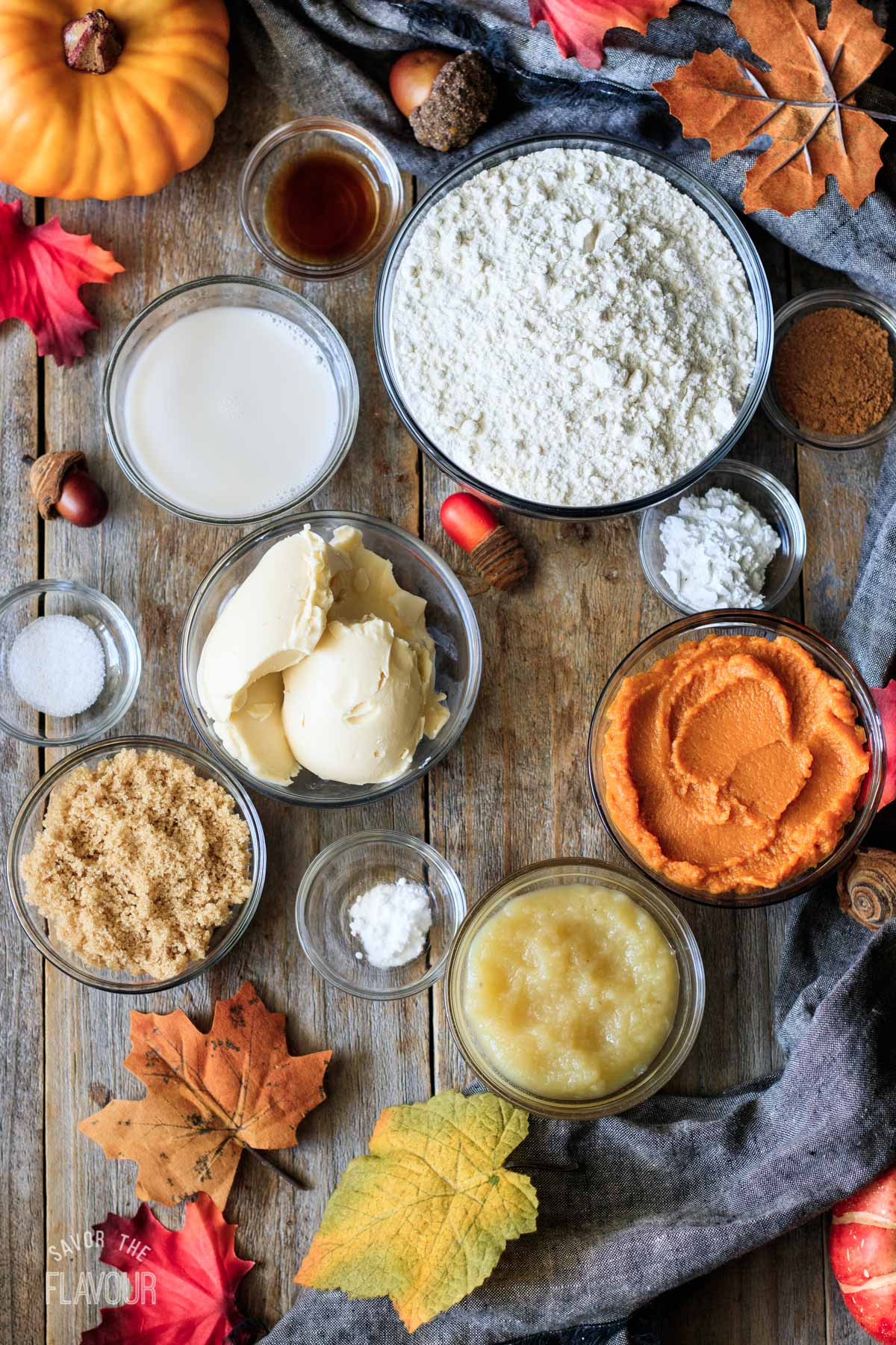 bowls of ingredients for vegan pumpkin scones