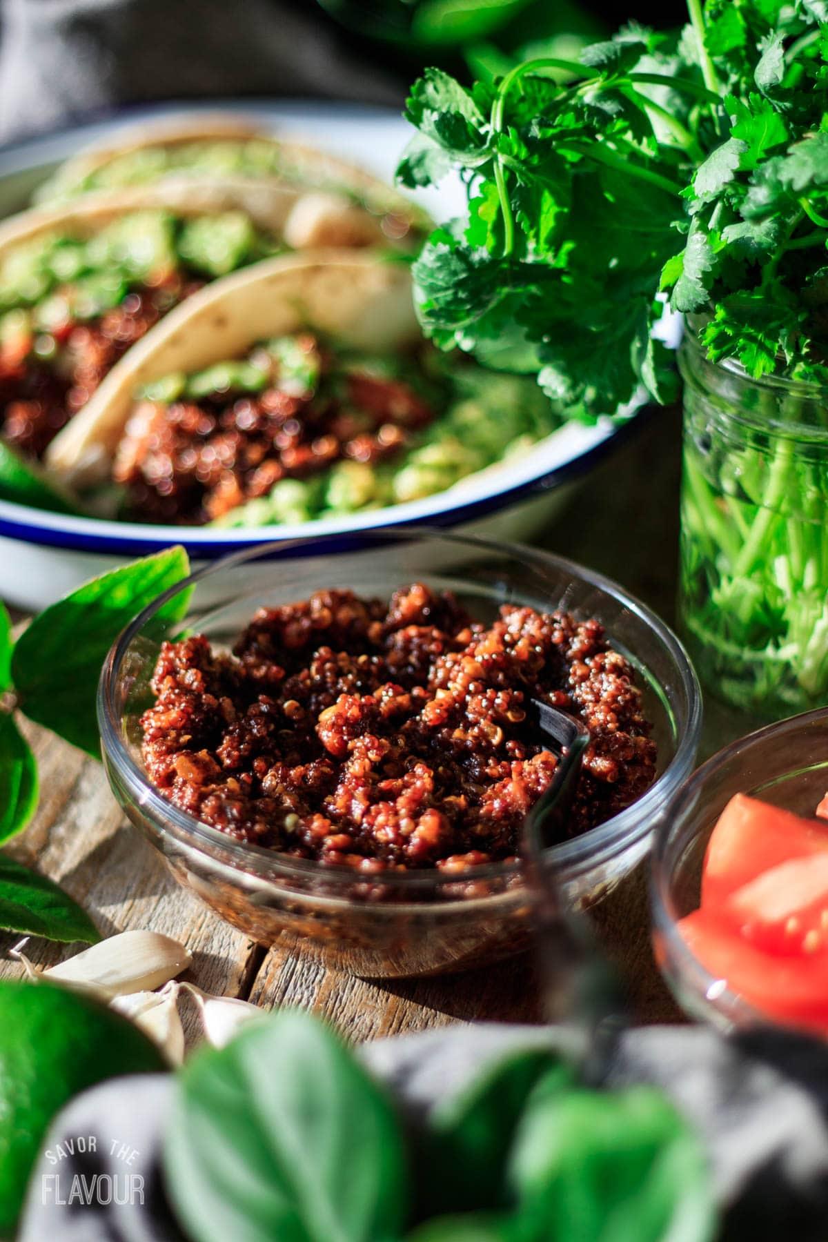 bowl of vegan quinoa taco meat