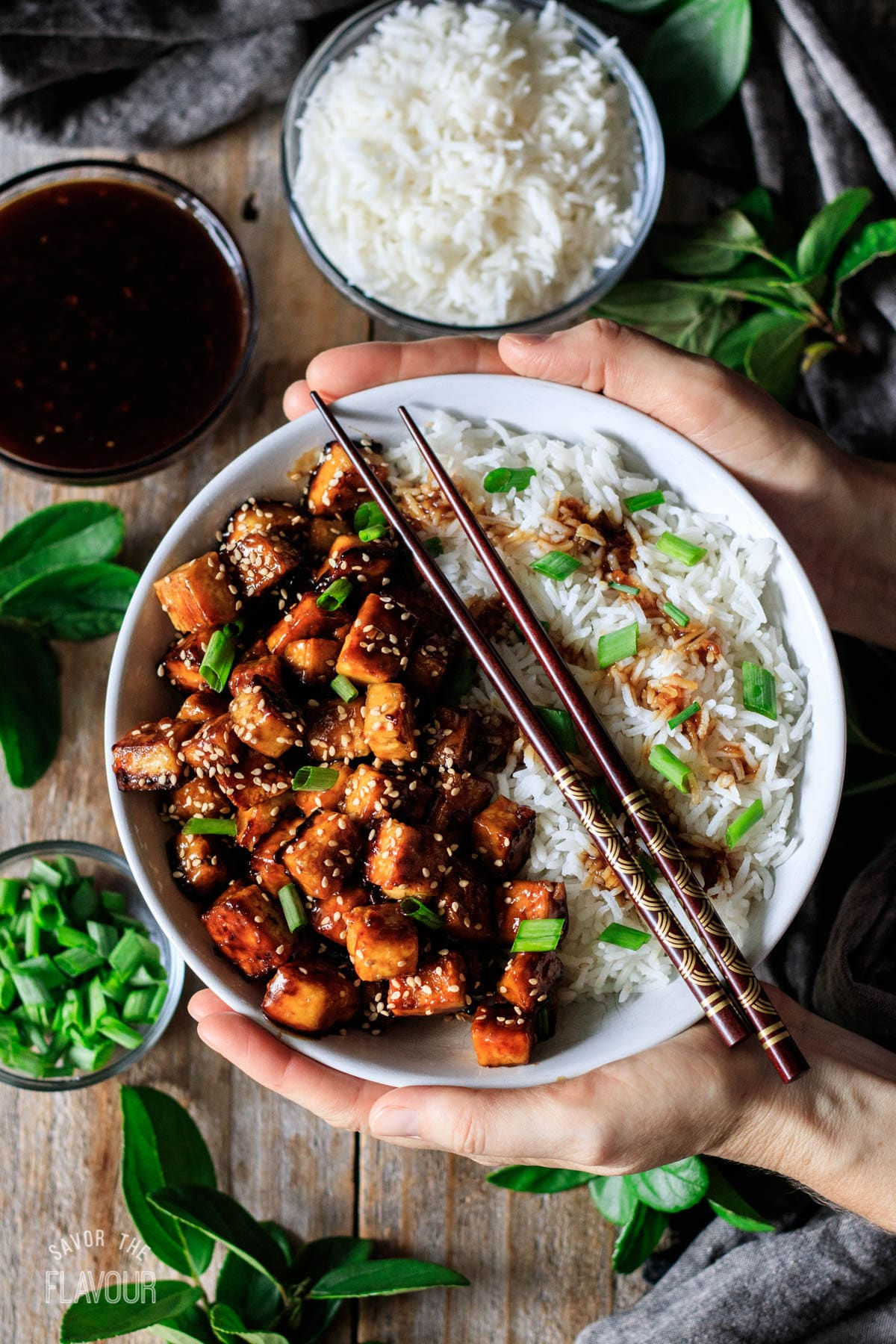 person holding a bowl of teriyaki tofu and white rice
