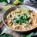 large bowl of Thai red curry noodle soup