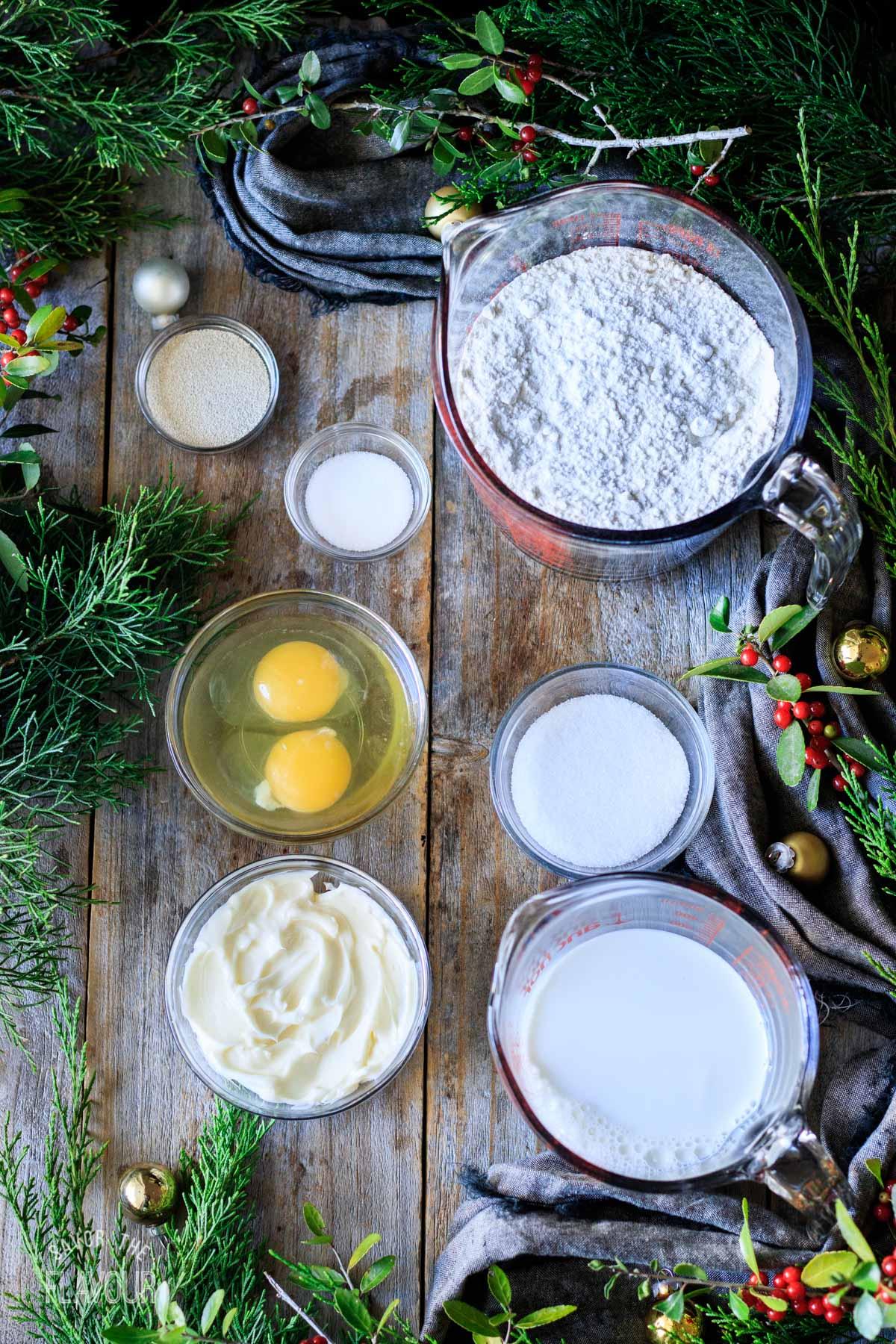 bowls of bread dough ingredients for pan de jamón