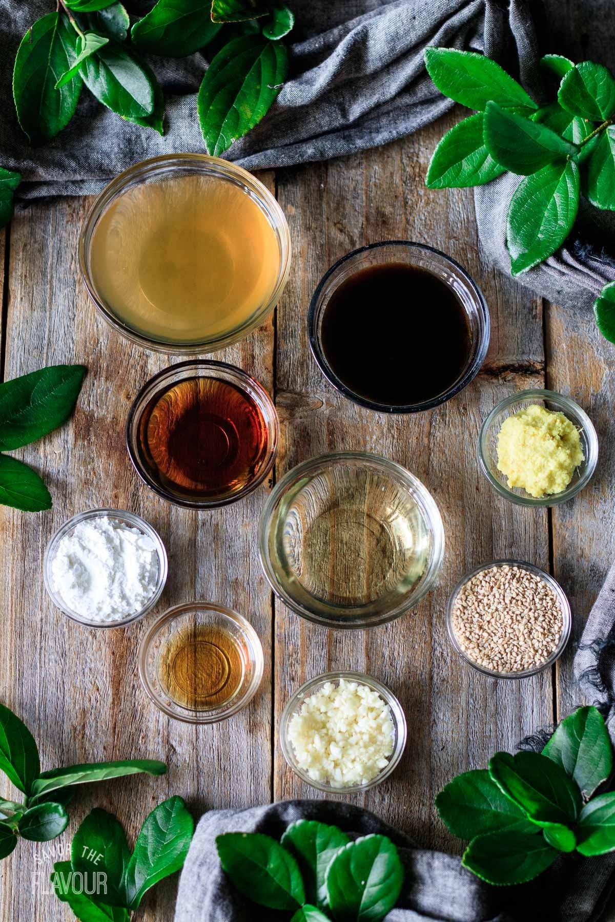 bowls of ingredients for vegan stir fry sauce