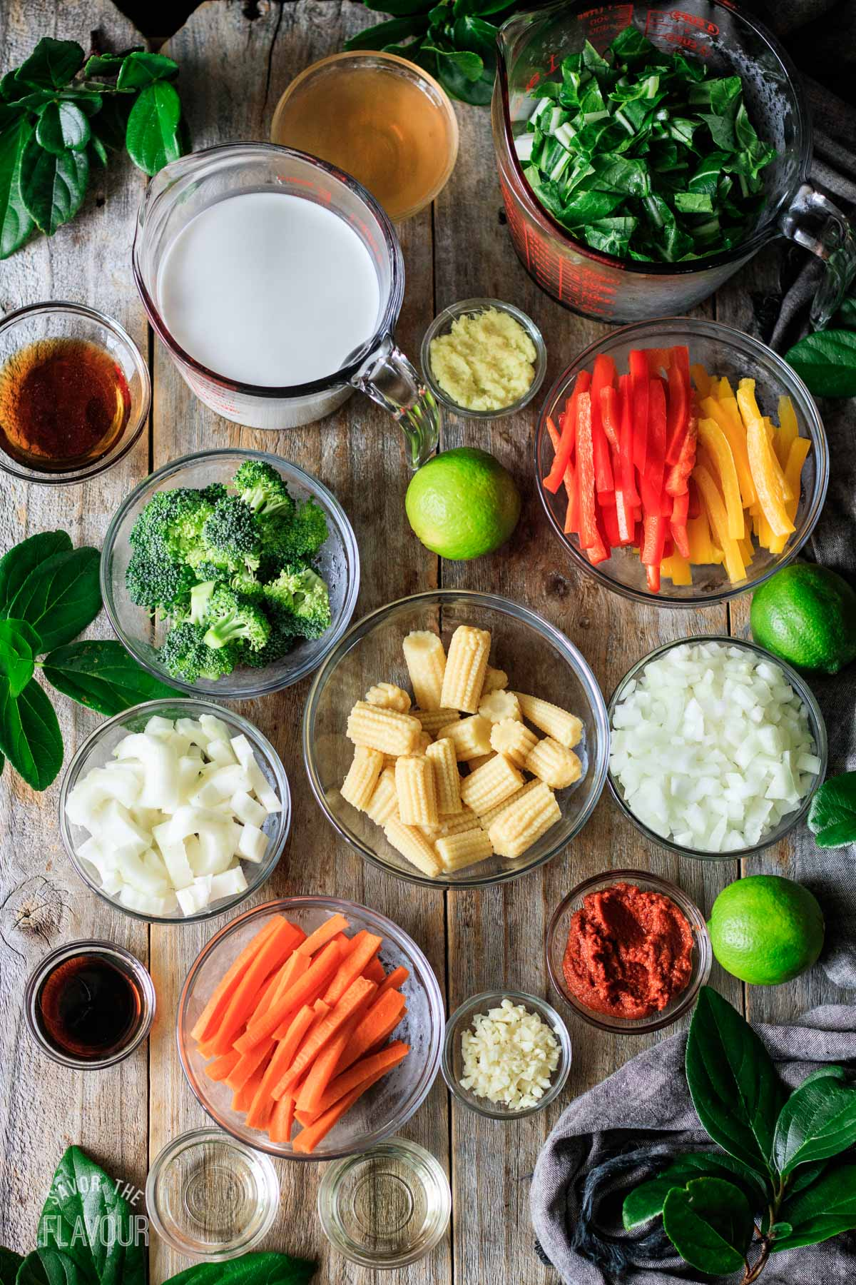 bowls of ingredients for Thai red curry
