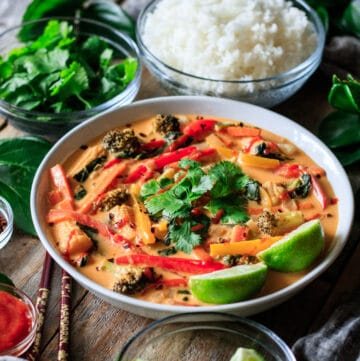 bowl of Thai red curry with chopsticks