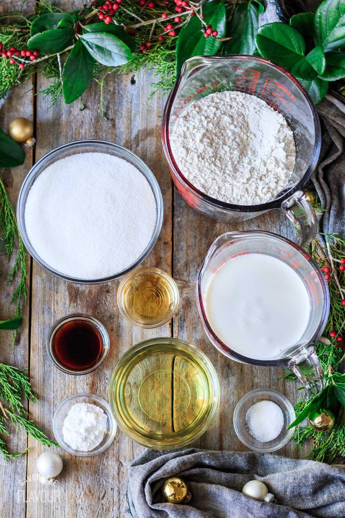 bowls of ingredients for vegan cake