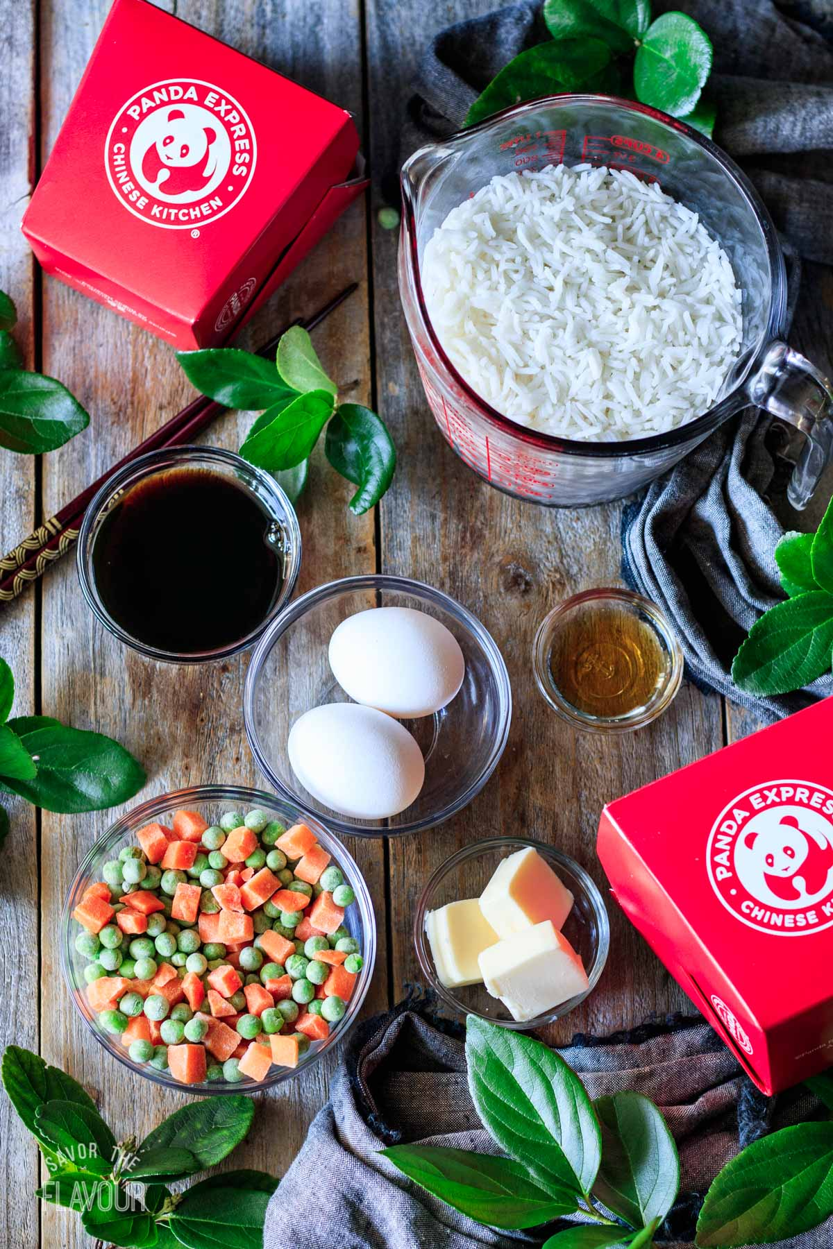 bowls of ingredients for copycat Panda Express fried rice