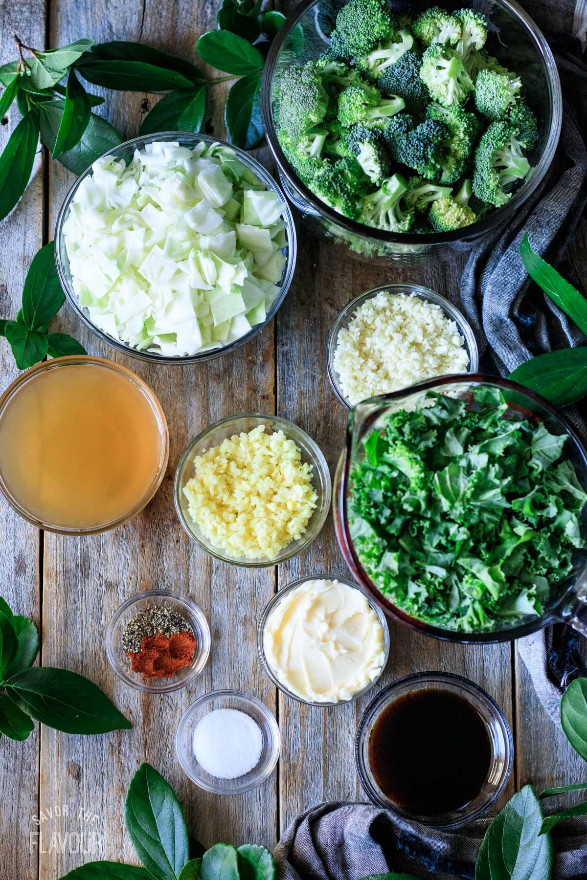 bowls of ingredients for Panda Express super greens