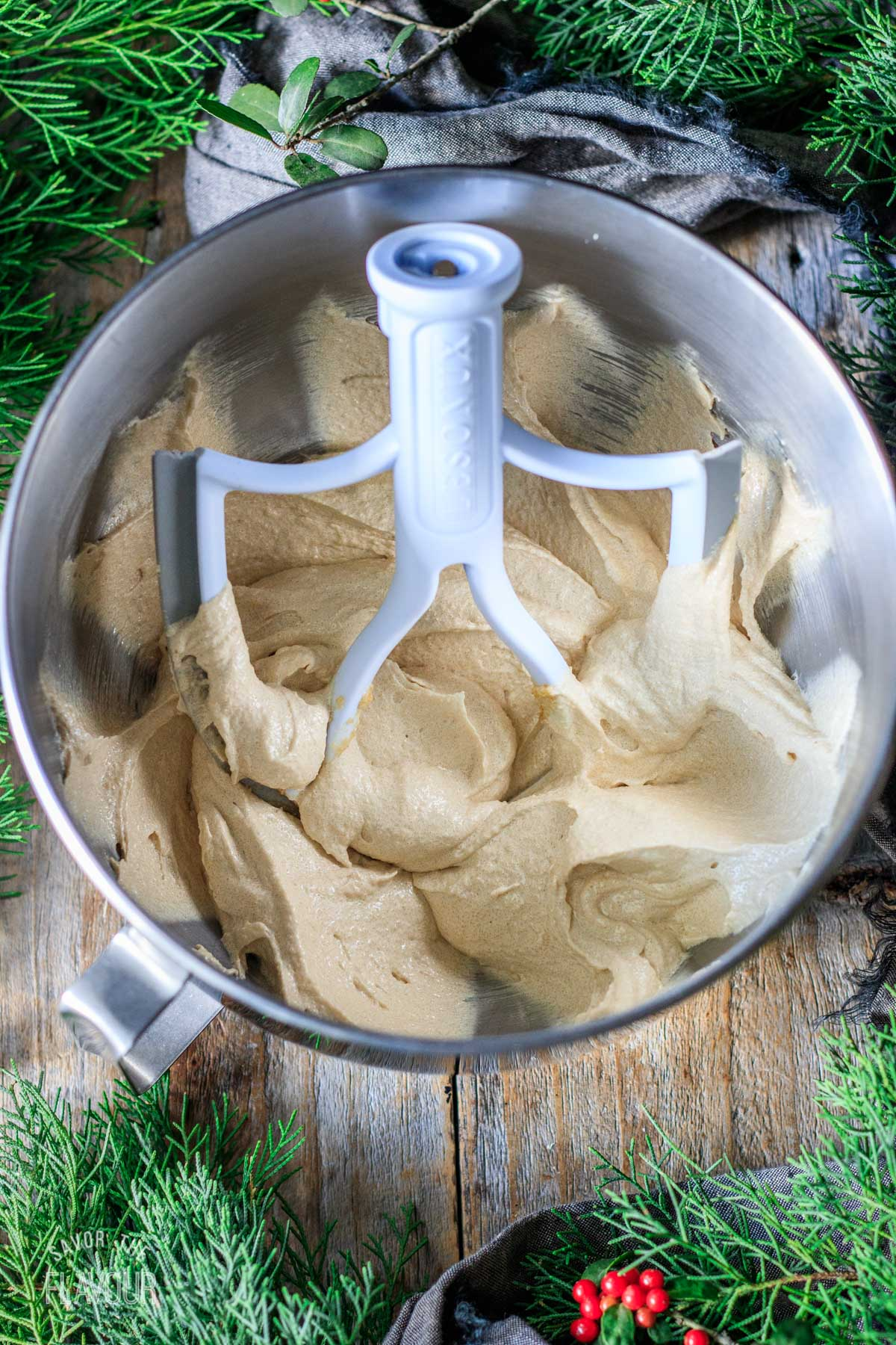 beaten butter and sugar mixture in a mixing bowl