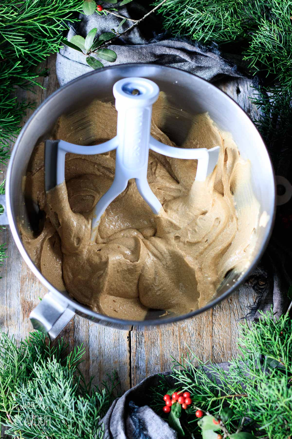 butter, molasses, and vanilla mixture in a mixing bowl