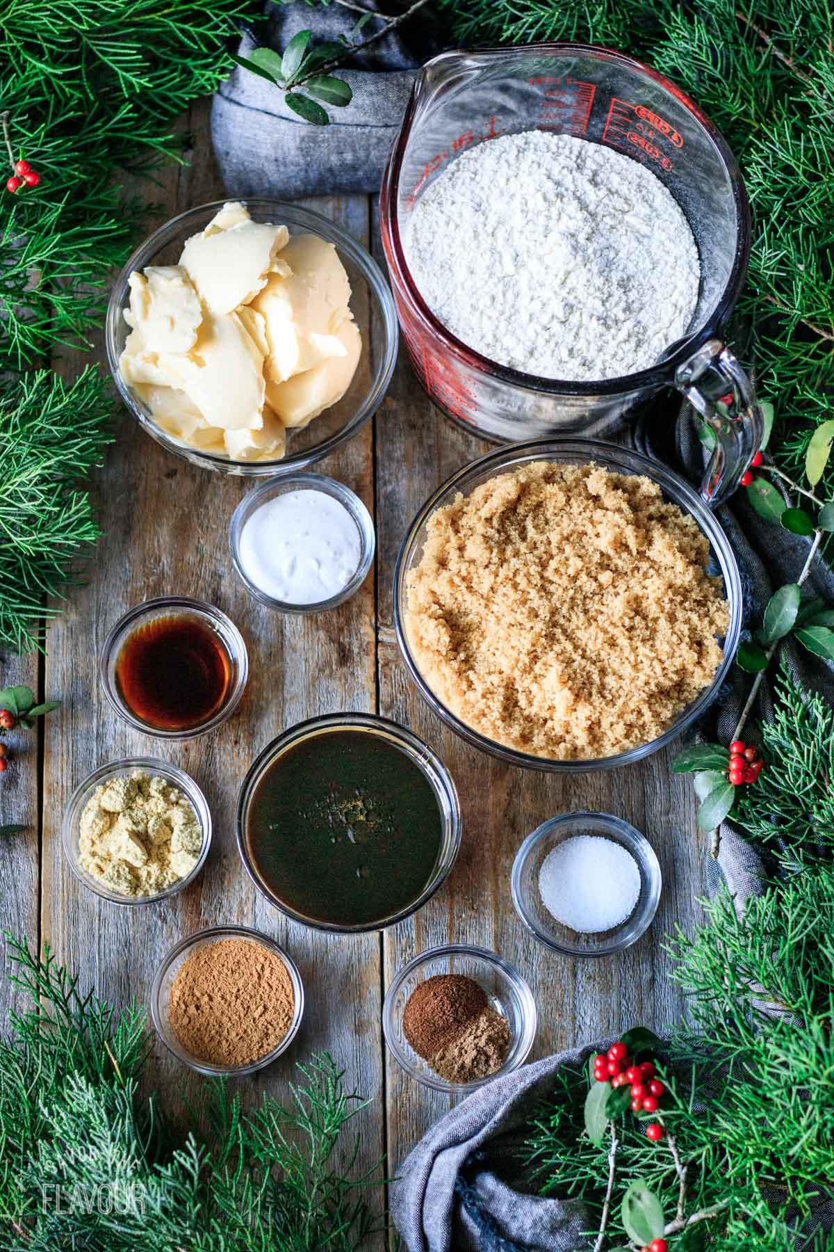 bowls of ingredients for vegan gingersnaps