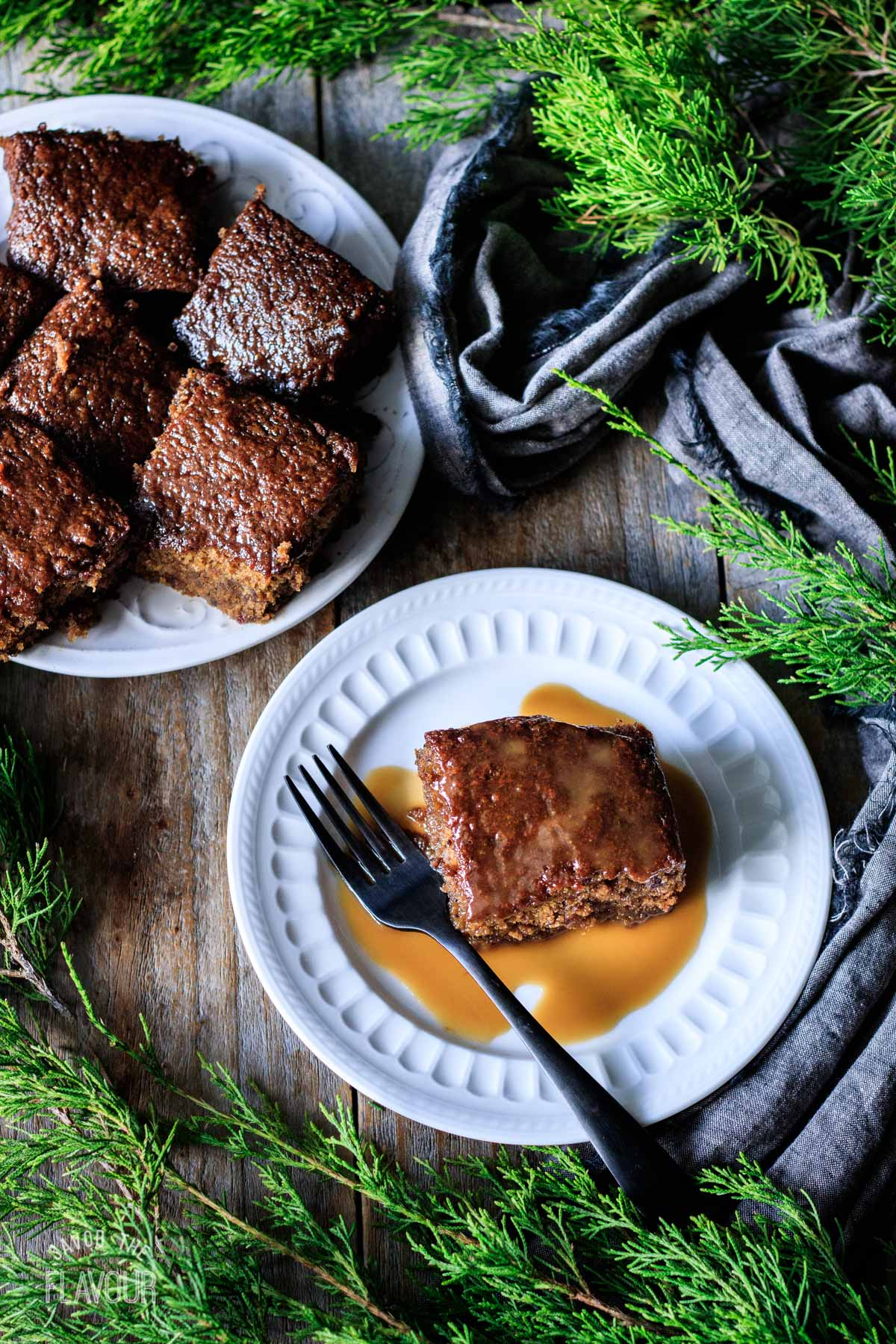 slices of vegan sticky toffee pudding on plates